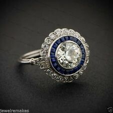 Certified Vintage Art Deco 2.40ct White Round Wedding Engagement 14K Gold Ring
