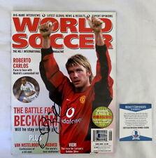 David Beckham signed World Soccer Magazine Manchester United RARE Beckett BAS