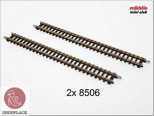 """Z 1:220 Scale Märklin Mini-Club Way Tracks Rails Set 108,6mm 4-1/4 """" 2x 8506"""