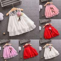 Toddler Baby Girl Sleeveless Tulle Skirt Flowers Weeding Party Princess Dress f8