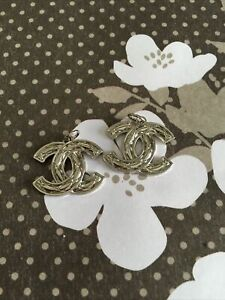 2 vintage quilt zipper pull button Authentic Chanel silver tone metal 26mm