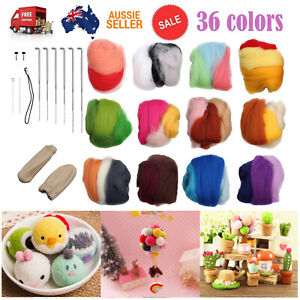 36 Colors Soft Wool Felt + Felting Needles Tool Set Mat Starter Kit Crafts DIY