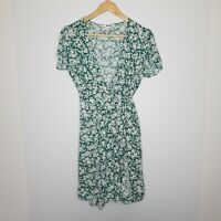 Rolla's Women's Dress Green White Ditsy Floral Wrap Short Sleeve Mini Size L