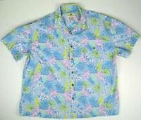 Vintage Lite Blue Hawaiian Shirt XL/XXL Y2K Blue Hawaii Kurt Cobain Aloha Grunge
