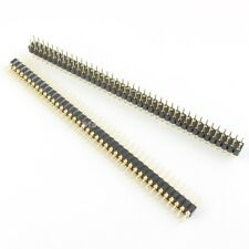 50Pcs Gold Plated 2.54mm Pitch 2x40 Pin 80 Pin Male Double Round Header Strip