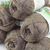 Sale New 6X50g balls Fingering  Soft Bamboo Cotton Hand Knitting Yarn Mocha 932