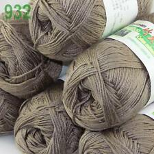 Sale New 6X50g balls Fingering  Soft Bamboo Cotton Hand Knitting Yarn Mocha 932