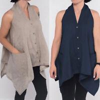 Women 100%Cotton Summer Button Up Top Vest Tee Shirt Plus Size Sleeveless Blouse