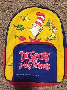 Seuss Cat in The Hat 1997 Kids BackpackFestival Bag Vintage Dr