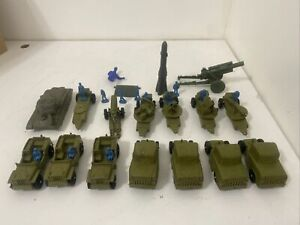 30 Piece Vintage Lot Of Army Jeep Truck Hard Plastic Vehicles & Blue Figures