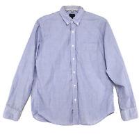 J Crew Cotton Shirt Mens Size L Large Blue Long Sleeve Button Up