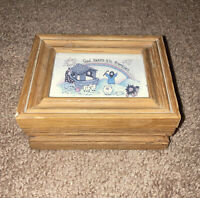 "Vtg 90s Wood Hinged Noah's Ark Trinket Jewelry Box  Glass Wooden Vintage 5x4x2"""