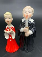 BOY AND GIRL VINTAGE CERAMIC CHRISTMAS CAROLERS, CHOIR, SINGERS Lot Of 2 Holiday