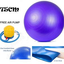 75cm ANTI BURST YOGA EXERCISE GYM PREGNANCY SWISS FITNESS ABS BALL + PUMP PURPLE