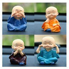 4pcs Speak Hear See Think No Evil Buddha Monk Statues Resin Car Desk Shelf Decor