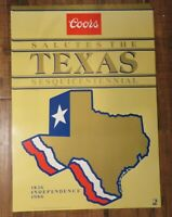 Coors Beer Salutes Texas sesquicentennial poster 1986 vintage NOS unused saved