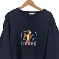 DISNEY STORE Vintage Blue Sweatshirt Jumper - Tigger 68 Embroidered - Size XL