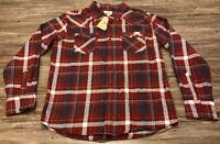 Men's Levi's Plaid Button Front Flannel Shirt Button Pockets M Maroon Navy NWT