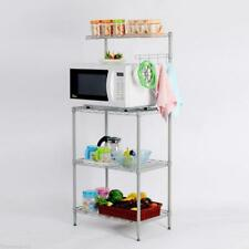 4-Tier Bakers Rack Storage Rack Microwave Oven Stand w/ Hanging Hooks Rolling US