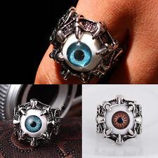 Mode Unisex Totenkopf Biker Ring Edelstahl Gothig Massiv Silber Evil Eye Ringe