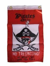 "12x18 12""x18"" Pirates Only No Trespassing Pirate Motorcycle Boat Flag Grommets"
