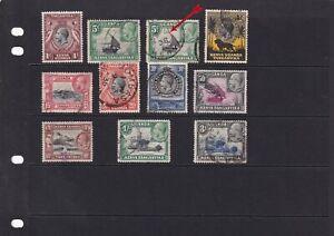 Kenya Uganda & Tanganyika Stamps x 11 1c to 3/- 1935 Used.