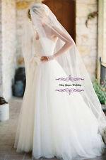 1T White Diamond Ivory Cathedral Wedding Bridal Cut/Raw Veil