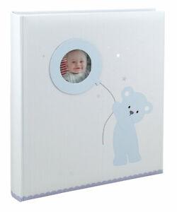 Baby Bear Balloon in Blau Fotoalbum 29x32 cm 60 weiße Seiten Buch Kinder Album