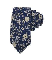 Johnny Madmen Mens Blue Floral 100% Cotton Hand Made Slim Tie