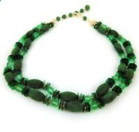 Vintage Green Flocked and Glass Bead Necklace Two Strands
