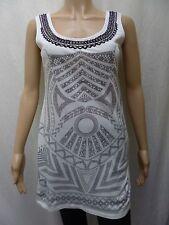 DOROTHY PERKINS size 10 - ladies long jersey sleeveless top - beaded neck