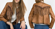 ZARA GENUINE LEATHER JACKET FRINGES LEDERJACKE JACKE FRANSEN SIZE S 6098/250