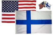Wholesale Combo Usa & Finland Country 2x3 2'x3' Flag & Friendship Lapel Pin