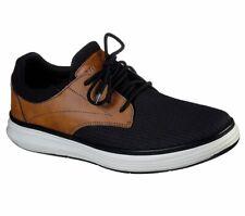 Skechers Black Shoe Men Memory Foam Comfort Casual Oxford Soft Woven Mesh 204051
