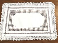 VINTAGE DrawnThread Knitted Lace White Linen Large Table Cloth Centre 28x20 Inch