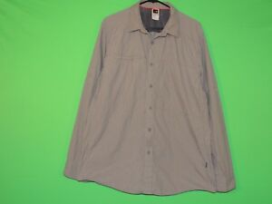 The North Face Mens L Large Gray Striped Long Slv Button Shirt