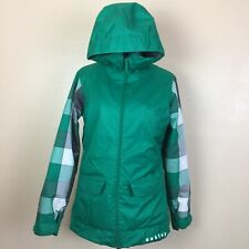 Oakley Snowboard Jacket Ski Parka Women's Size Small, Loose Fit Green Check EUC