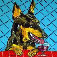 4x4  doberman pinscher dog wine glass art tile coaster gift JSCHMETZ modern new