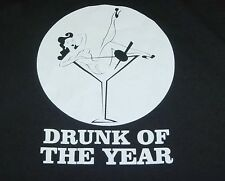 NEW -  DRUNK OF THE YEAR - Sexy Pin Up Girl TEE T SHIRT Sz Mens L Black / Funny