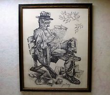 Vintage Artist Jim Daly Print Man Reading Daily Racing Forum Charcoal Framed VgC
