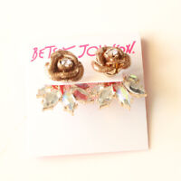 New Betsey Johnson Rose Stud Earrings Jackets Gift Fashion Women Party Jewelry