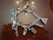 VINTAGE STERLING SILVER SU CHARM BRACELET WITH 9 STERLING CHARMS-HAIR DRYER-COMB