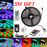 5M RGB 5050 3528 SMD Flexible LED Strip Light Wireless Remote Power Supply 12V