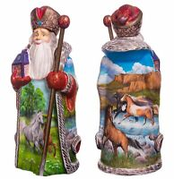 "Carved Wooden Santa Claus Figurine 13"" Hand painted Father Frost"