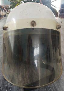 Vintage Snell 1968 Size Medium Size White Helmet Full Shield