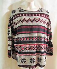MINT JULEP BOUTIQUE~Gray/Red/Blue~SNOW DAYS (Snow Flake) Top~Long Sleeve~Med~NWT