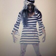SEXY Womens Blood ZOMBIE WALKING DEAD JAIL PRISONER Fancy Dress Costume Outfit