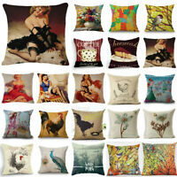 18inch Cotton Linen Cushion Cover Waist Pillow Case Cover Sofa Home Decoration