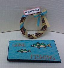 Dollhouse mini 1:12 Gone Fishing  wreath & Gone Fishing welcome mat, front door