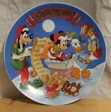 Walt Disney Christmas List 1990 Plate MINT Grolier Goofy Daffy Duck Mickey Mouse
